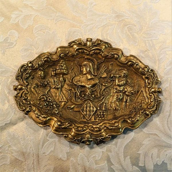 High Relief Cast Brass Plate Edged with Bats